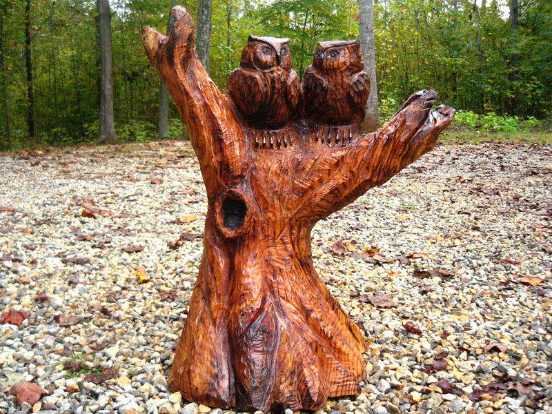 Two Owls Carved for a Wedding