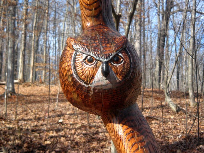 Flying Owl Carved from Red Oak