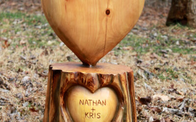 Personalized wedding chainsaw wood heart